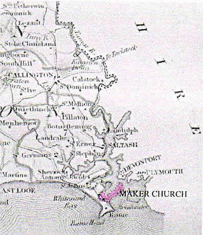 Map showing church and parish of Maker